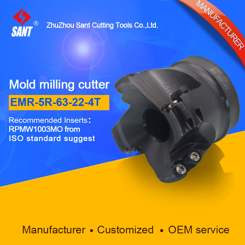 SANT  Indexable Milling cutter mold milling tools EMR-5R-63-22-4T match with cnc carbide inserts RPMW1003MO  цены