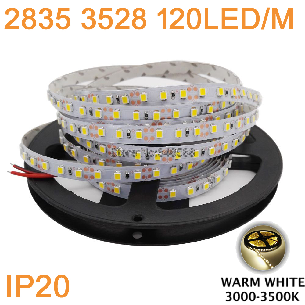 DC12V 5M/Roll 120led/m 600LEDs 3528 2835 SMD IP20 Non-Waterproof Flexible LED Strip Warm White Color 3000-3500K