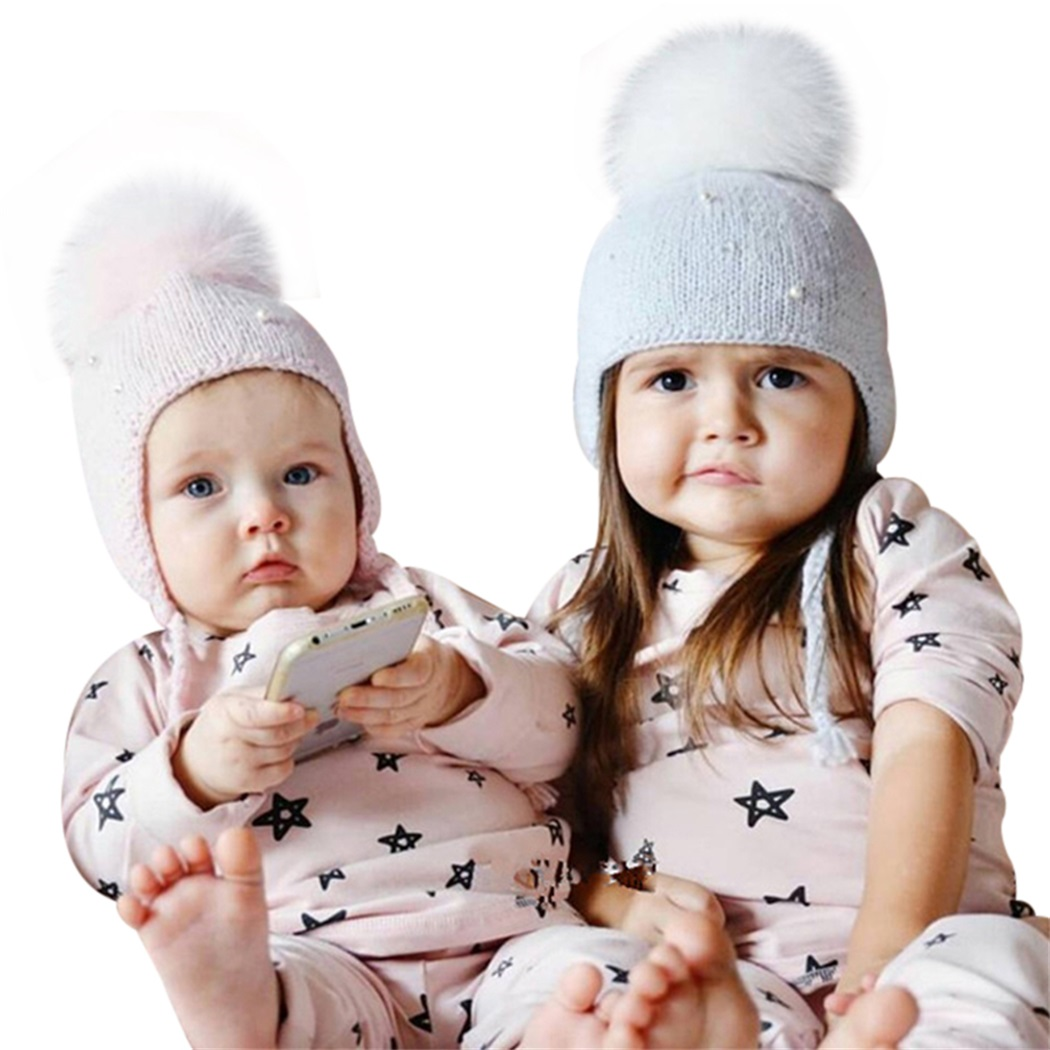 2017 Children Hat Autumn And Winter Hair Ball Pearl Knitting Wool Hat Soft And Comfortable High Quality Hot Sale Fashion fashion autumn and winter knitting wool hat men and women winter cap lovely hair ball beanies bone gorros accessory colorful new