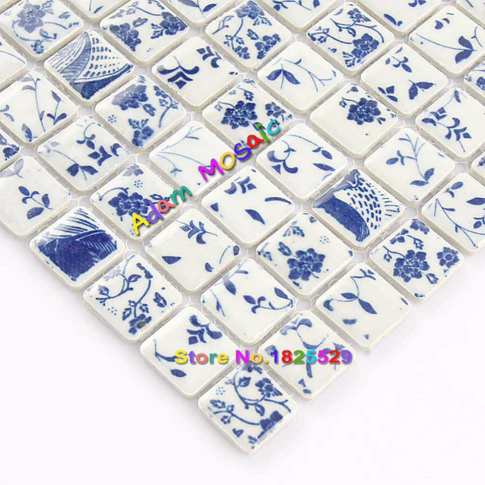 Aliexpress.com : Buy Square Tile Bathroom Wall Mosaic Blue And White ...