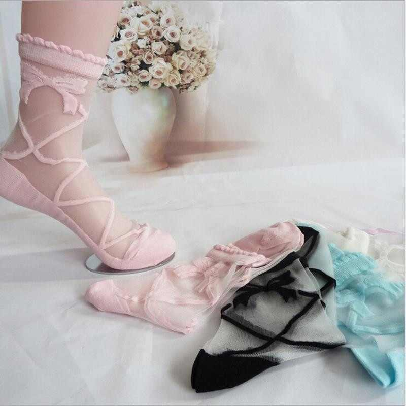 Bowknot Sheer Mesh Bow Knit Frill Trim Transparent Crystal Lace Ankle Socks Gift