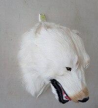 creative Simulation Polar bear head toy polyethylene&furs white Polar bear head model gift about 30*35*24CM y0356