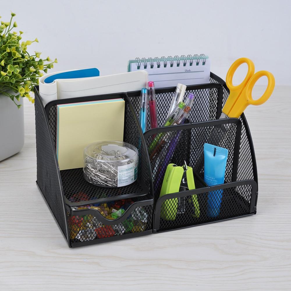 7 Storage Multi Functional Metal Mesh Desk Organizer Pen Holder Stationery  Storage Collection Office School Supplies Caddy Black