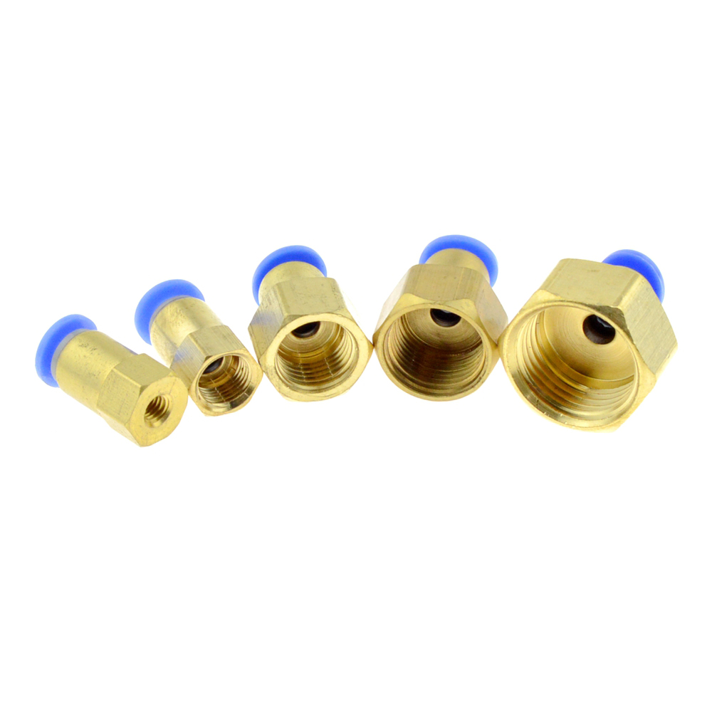 Air Pneumatic 6mm OD Hose Tube Push Into 1/4PT 1/8 3/8 1/2BSPT M5 Female thread Gas Quick Brass Joint Connector Fitting air pneumatic 10mm 8mm 12mm 6mm 4mm hose tube 1 4bsp 1 2 1 8 3 8 male thread air pipe connector quick coupling brass fitting