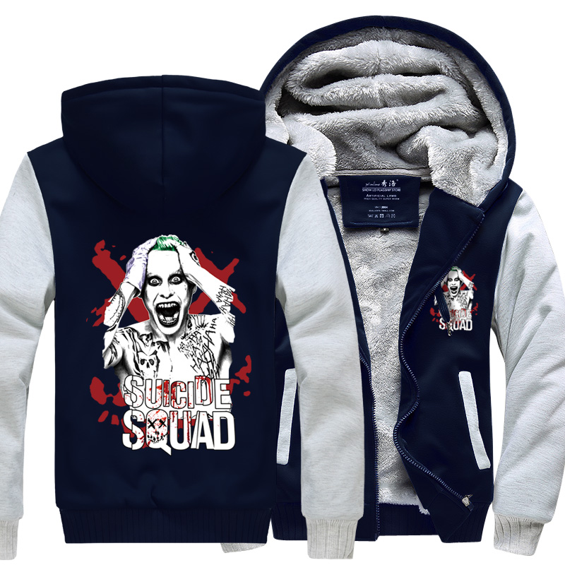 New Hooded Thick Zipper Men Sweatshirts Winter Jackets and Coats Batman Suicide Squad hoodie Anime Harley