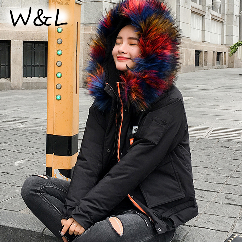 2017 Parkas Coats Warm Women short oversized Winter Down Jackets Female Overcoat thick Cotton Coats fur collar casual outerwear