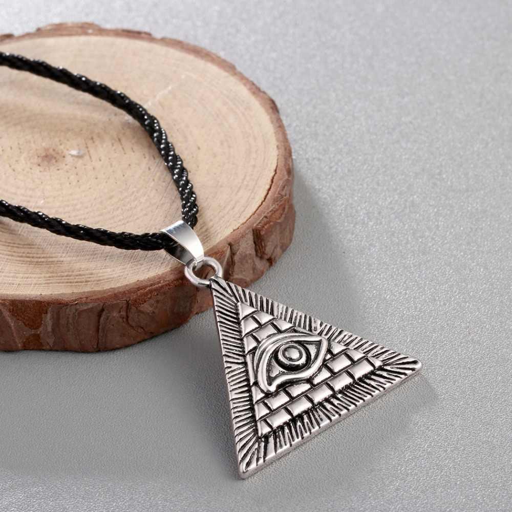 Chandler egito egípcio pirâmide all-see olho mal illuminati antigo prata charme pingente colar para homens meninos moda bijoux