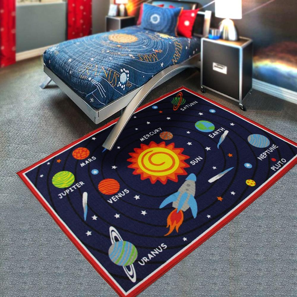 Espace extérieur terre/lune/soleil/etoile enfants tapis et tapis enfant jeu Machine lavable chambre tapis chevet coureur tapis