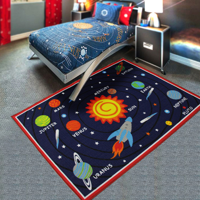 Outer Space Earth/Moon/Sun/Star Kids Children's Rug And