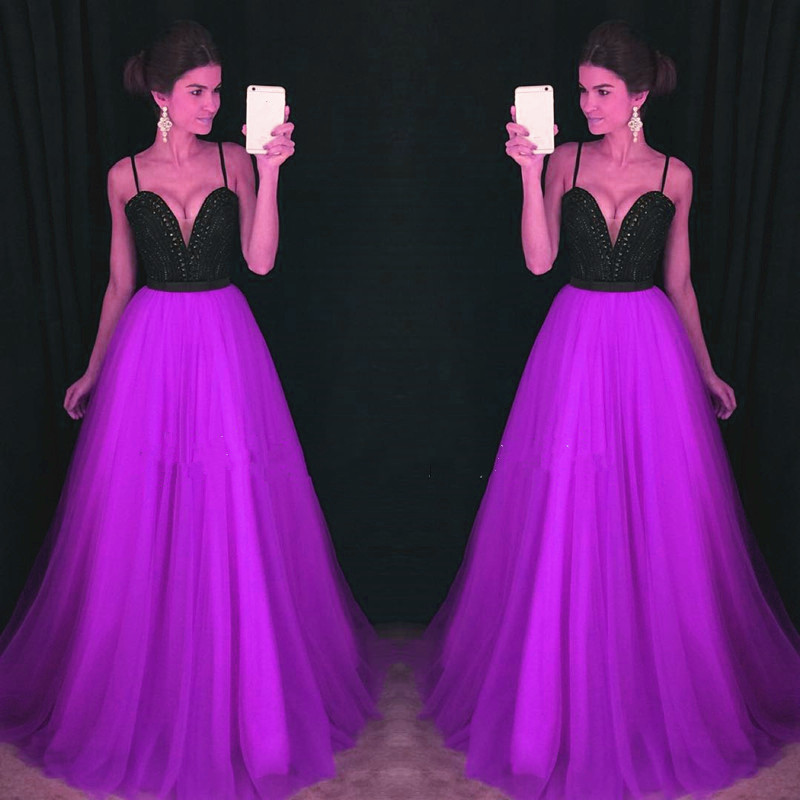 Beaded Black Sweetheart Top Long Tulle Fuchsia Formal Evening Gown ...