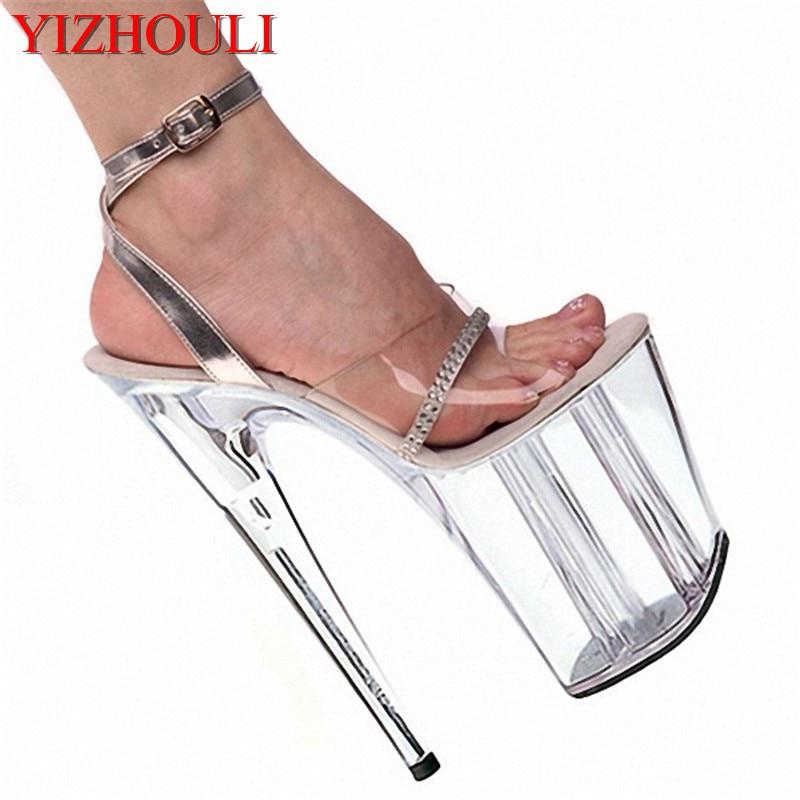 Élégante boutique de luxe femme discothèque 20 cm sandales princesse super chaussures à talons hauts