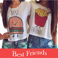 1Pcs Plus Size Best Friends Letter Print Crop Tops Women Summer New Short Sleeve O-Neck Casual Tshirt Women Cropped Feminino