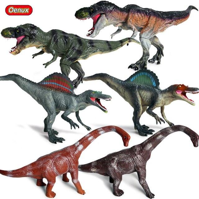 Oenux Mais Recente Jurássico Spinosaurus Tiranossauro T-Rex Dinossauro Modelo de Mundo Selvagem Dinossauros Animais Action Figure Toy Para Kid
