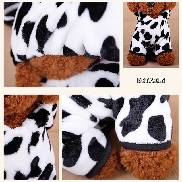 Cow Style Pet Dog Costume Warm Flannel Hoodies Outfit For Dog Winter Dog Clothes Puppy Jacket Clothes for Small Dog ropa perro 3
