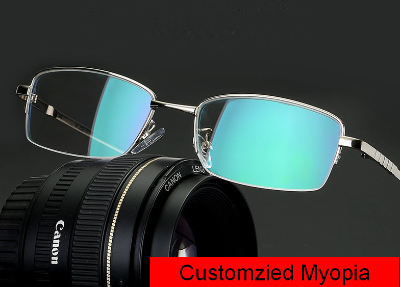 Eyesilove Men Myopia Glasses Titanium Alloy Frame Shortsighted Prescription Glasses High Quality -0.50~-6.00 Free Shipping