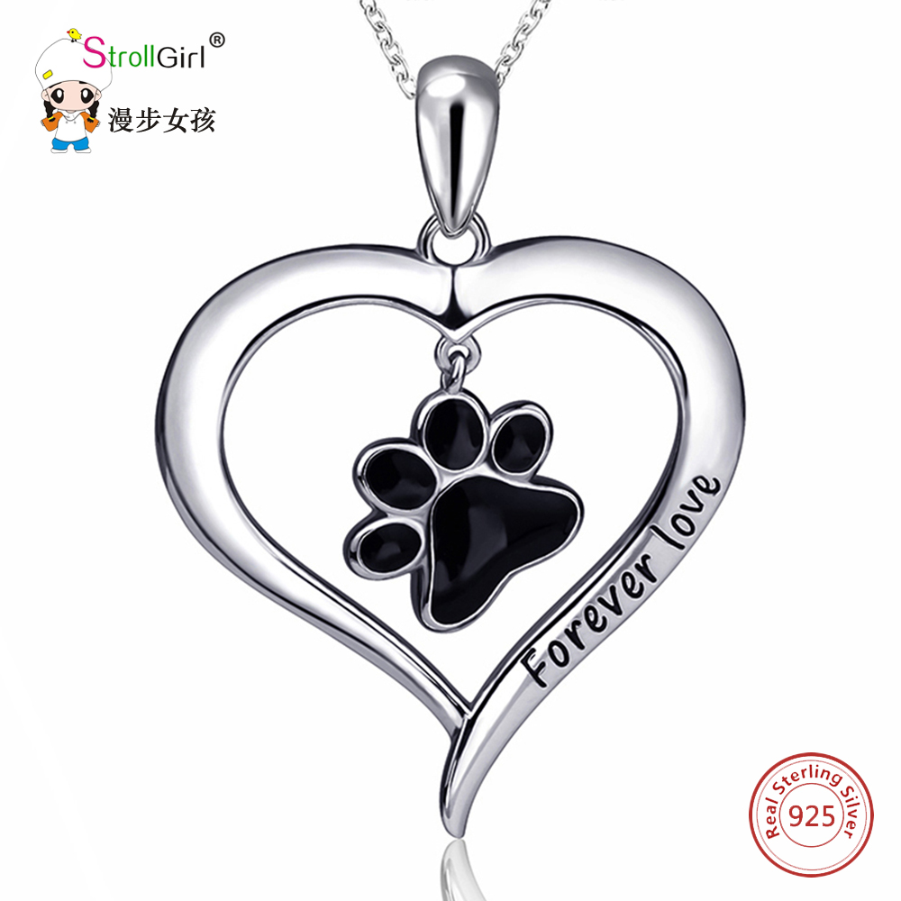 Silver Enamel Cat Dog Paw Necklace Girl Chain 925 Sterling Silver Love Heart Necklaces & Pendants For Women Fashion Jewelry 2018 fashion custom lettering 925 silver love heart shaped couple necklace peach heart pendants for men and women yp3196