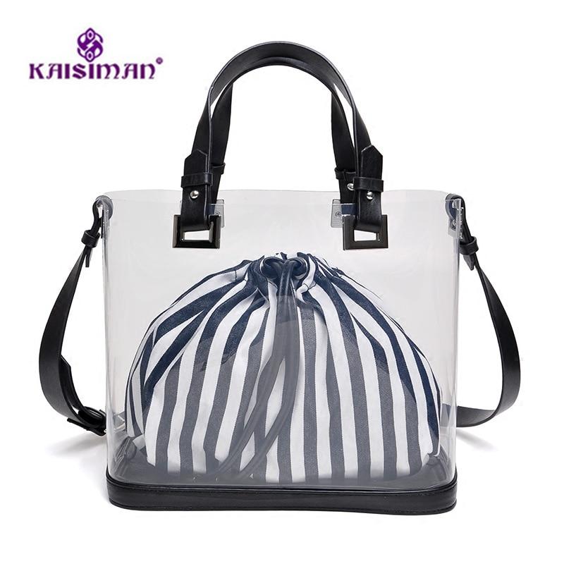 INS Popular Transparent Bags for Women Messenger Bags Clear Pudding Shoulder Beach Bag Fashion Lady Big Bucket Tote Girl Handbag