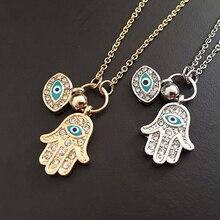 Модные Фатима хамса руки ожерелье синий сглаза долго сплава цепочке кулон изделий леди Шарм Рождественский подарок