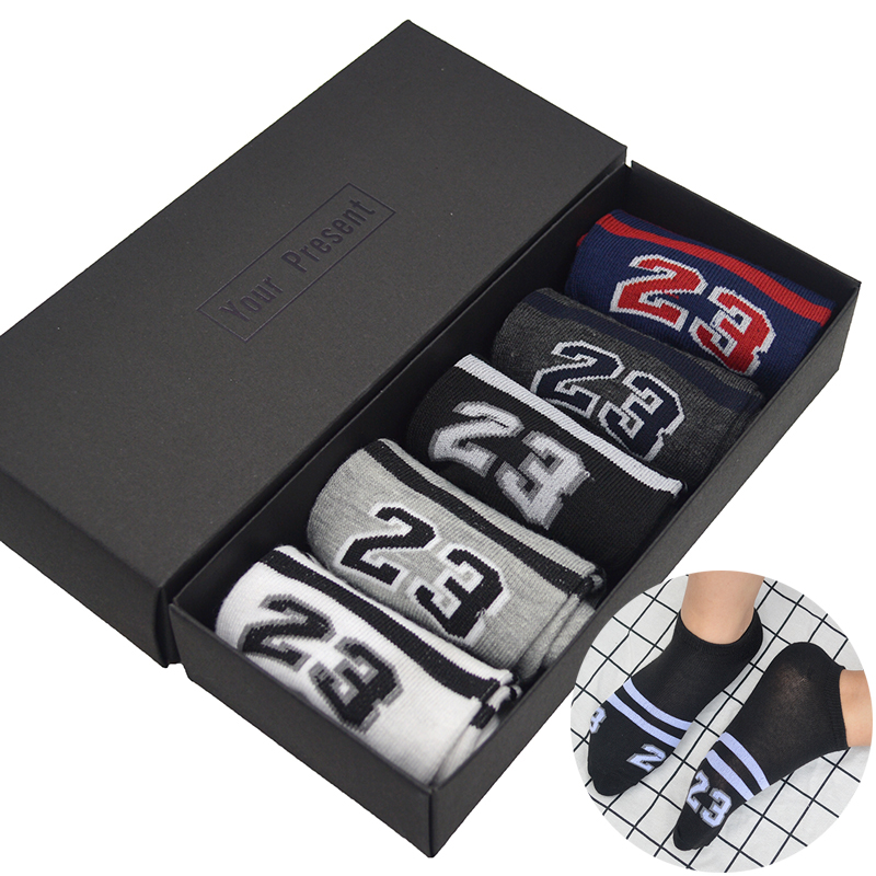 5 Pair/set Two Stripes Number Cotton Men Short Casual Socks Number 23 Mens Summer Short Ankle Socks with Gift Box