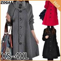 ZOGAA 2019 New Fashion Winter Women Sweaters Cotton Long Jacket Woolen Coat Casual Batwing Sleeve Overcoat Outware Loose