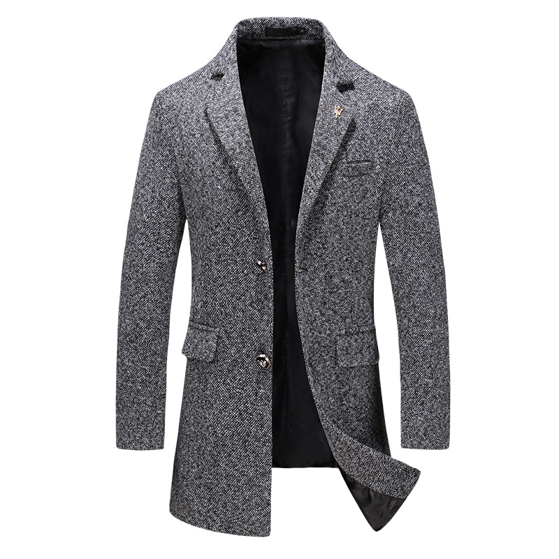 Long Slim Windbreaker Men Warm winter Wool Trench Coat Male Brand Fashion Business Casual Woolen Jacket Long Design overcoat 5XL(China)