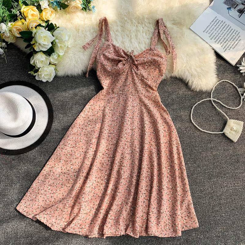 Holiday 2019 New Flower Print V-collar Drawstring High Waist Slim A-line Beach Dress Women Vestidos 5
