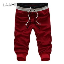 Laamei Brand Fashion Drawstring Shorts Patchwork Pocket Casual Shorts Quick Dry Fitness Trousers Men's Calf-Length Shorts(China)