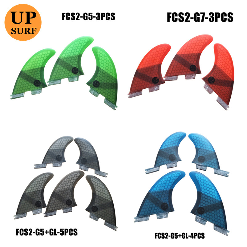 Surf Fins FCS2 Fins G5/G7/GL/K2.1 FCS II Tri Fin Set Fiberglass Blue,red, Black,,green Color Tri-quad Fins