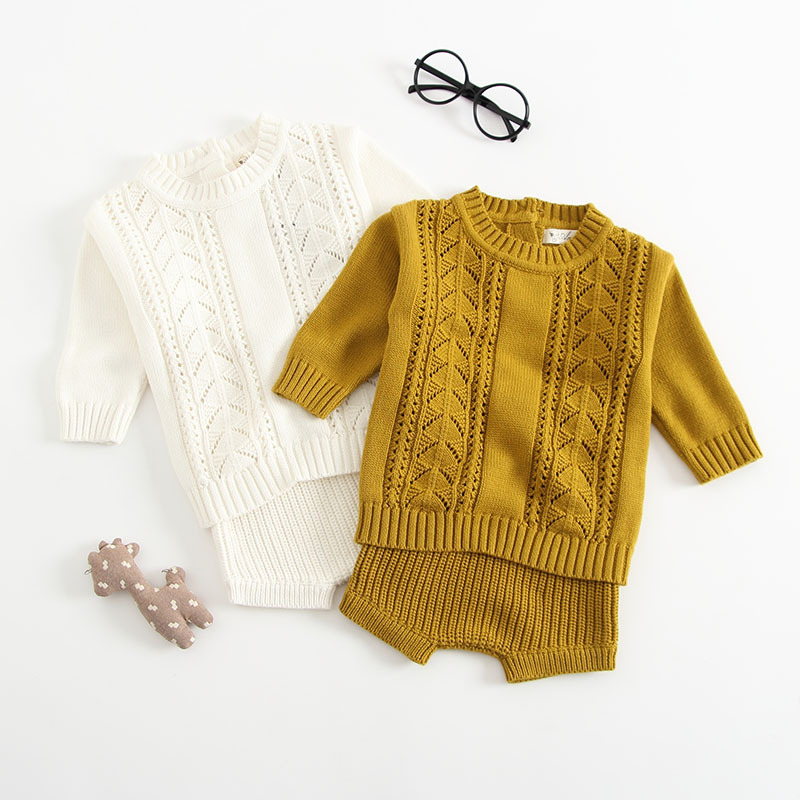 2018 New Baby Girls Boys Set 2 Pieces Pullover+ Shorts Knitted Wool Clothes Suit Hollow  ...