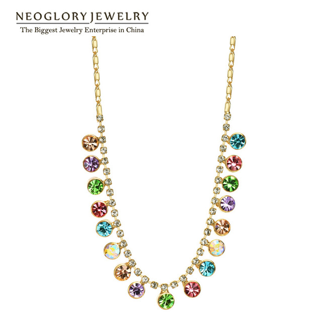 Neoglory Austrian Crystal Rhinestone Light Yellow Gold Color Colorful Bead Chain Necklace Pendant Women Fashion 2017 New Colf-b