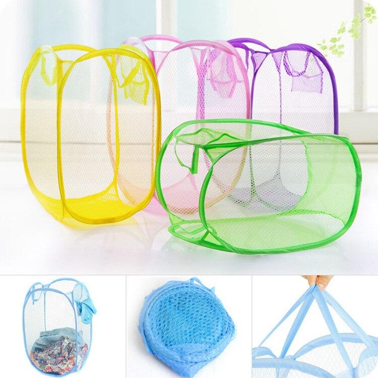 Nylon Mesh Fabric Laundry Basket Storage Basket For Toy Washing Basket Dirty Clothes Sundries Basket Box Foldable -50