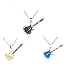 Fashion Accessories Punk Blue Black Gold Color Guitar Necklaces & Pendants Stainless Steel 60cm Long Necklace Chain Mens Gift