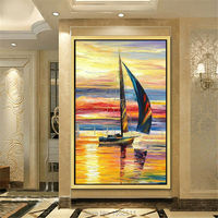 Hand Painted Canvas Abstract Oil Painting Huge Modern Yacht Quadros Paintings For Living Room Wall Boat