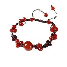 Original jewelry handmade ethnic wind bracelet peach flower beaded Korean personality accessories