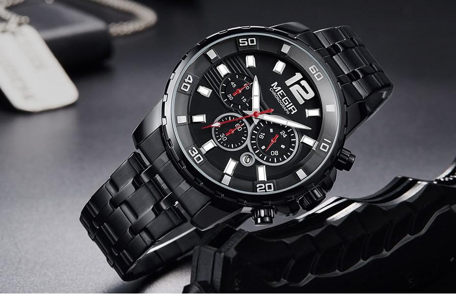 HTB1PiXtbmBYBeNjy0Feq6znmFXa6 Megir Men's Gold Stainless Steel Quartz Watches Business Chronograph Analgue Wristwatch for Man Waterproof Luminous 2068GGD-2N3
