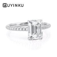 GUYINKU 6X8mm EF Color Emerald Cut Moissanite Rings With 14K 585 White Gold For Women Engagement Anniversary Wedding Gift