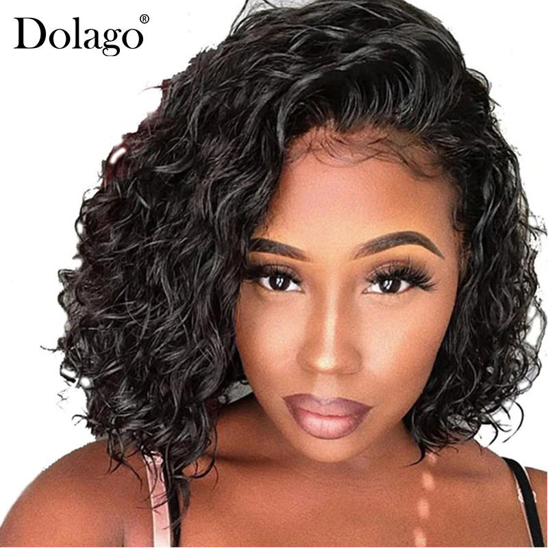 Short Human Hair Wigs For Women Brazilian Wavy Bob Lace Front Wigs Pre Plucked With Baby Hair Curly Dolago Remy Black 130% Full(China)