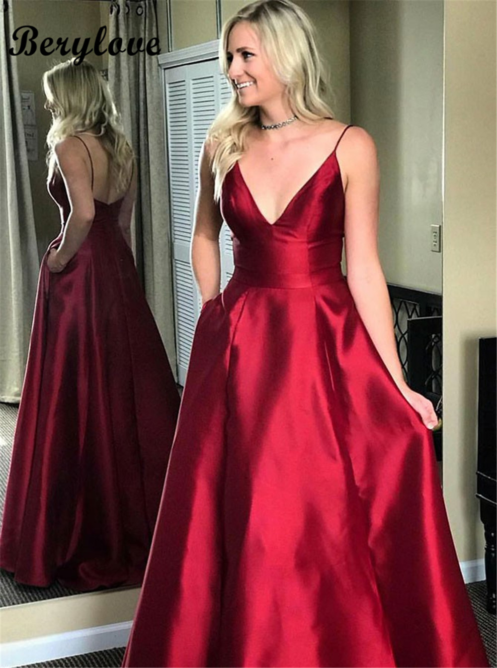 db6148f946 BeryLove Shiny Red Elegant Evening Dress Spagheti Straps Gown Formal V  Party Dress Prom Special Occasion