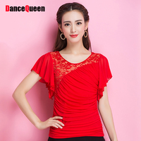 Elastic Latin Dance Shirts For Ladies Red Colors Ice Silk Short Sleeve Jackets Comfort Woman Female
