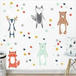 Nordic Style Cartoon Giraffe Bear Fox Wall Sticker For Kids Rooms Decoration Forest Animals Art Decal Kindergarten Wall Decor