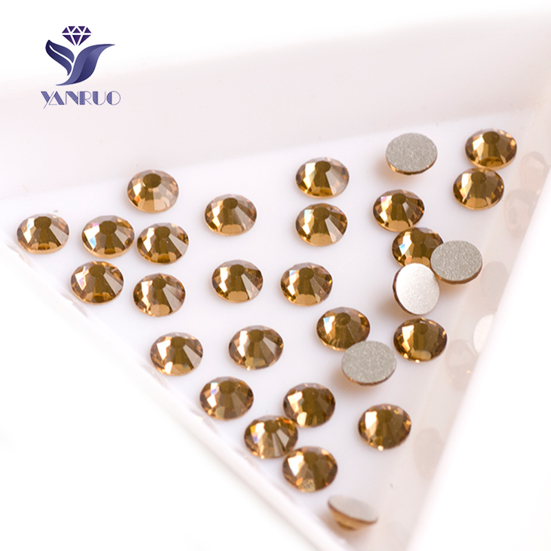 YANRUO 2058NoHF Lt Colorado Topaz Not Hotfix Crystals FlatBack Strass Glue on For Clothes Nails Art Dress Rhinestone