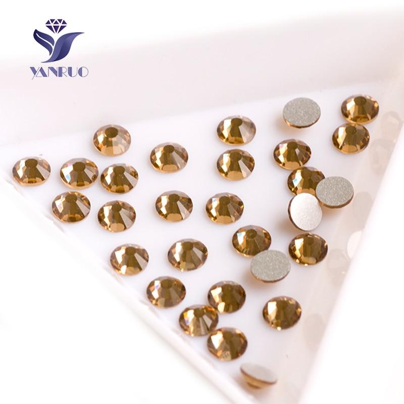 YANRUO 2058 Tidak Ada Lt Colorado Topaz Tidak Hotfix Kristal FlatBack Lem Strass pada Untuk Pakaian Kuku Art Gaun Berlian Imitasi