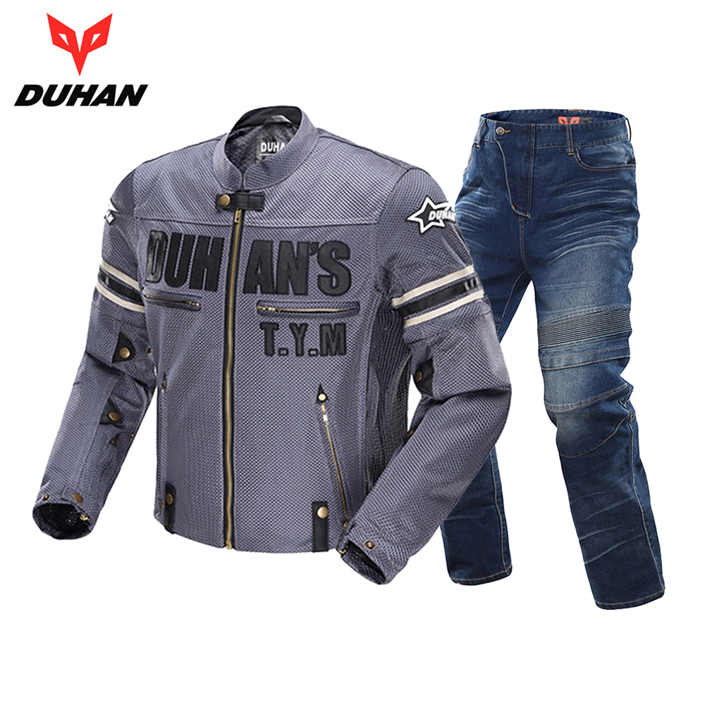 DUHAN Motorcycle Jacket Breathable Racing Riding Moto Jacket Windproof Motorcycle Pants  Suit Motorcycle Clothing For Men