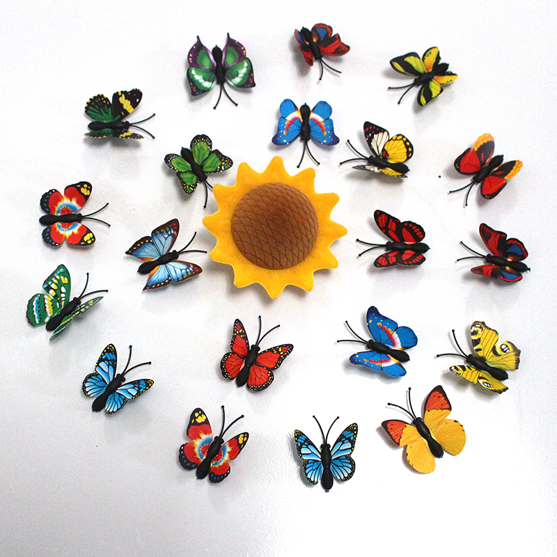 100pcs/lot Simulation Butterfly PVC Home Decoration Buterfly Wall Stickers Home Decal Magnet Crafts Holiday Decoration