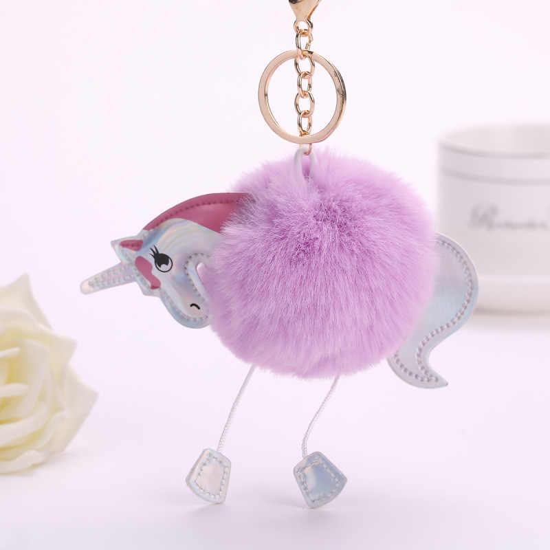 Bonito Encantador 13 cm Coelho Chaveiros Para As Mulheres Bag Carros Fake Fur Fluffy Unicorn Cavalo Animal Keychain Anel jóias Pom pom