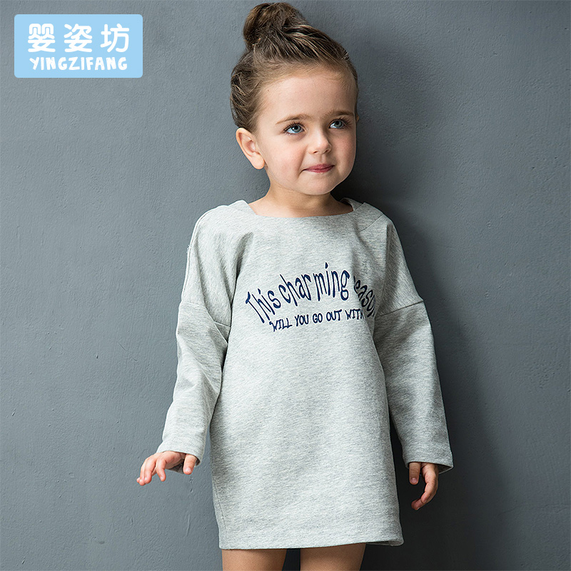 2018 Top Hot Sale Full Girls Yingzifang Girls' Active Cotton Long Sleeves Pattern Letter Tees Tops Clothes цена