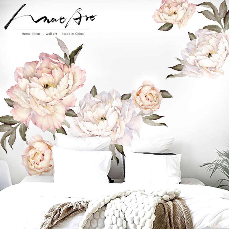 Peony Flowers Wall Sticker Vintage Peach Watercolor Peony living room decoration Home Decoration wall art for bedroom nordic