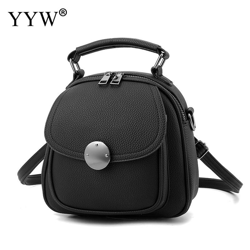Fashion Solid Color PU Leather Backpack Female Gray Mini Backpacks for Adolescent Girls Women Pink Casual Tote Bags 7 Colors fashion rivet zipper solid women pu leather lady backpack multi function mini bagpack backpacks hb25 32