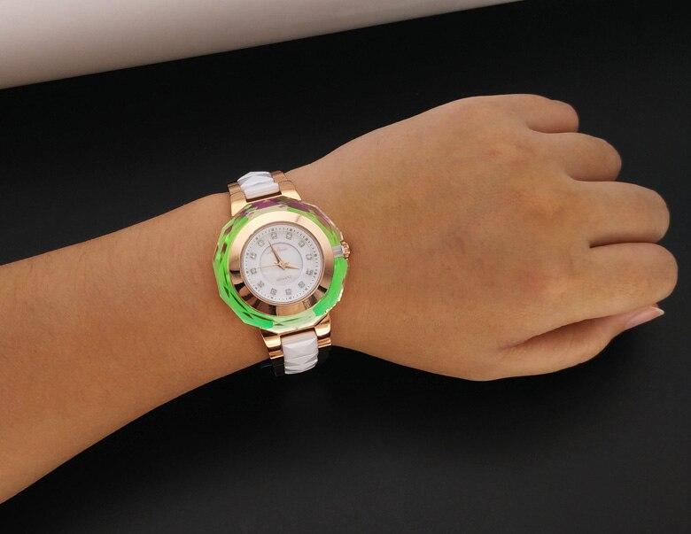 Mode multi face brillant cristal Montre classique MELISSA femmes en céramique Montre bracelet à la mode MELISSA Relogios Montre Femme F6285 - 5