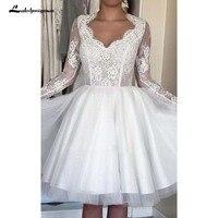 Одежда с длинным рукавом Короткие свадебное платье мини Иллюзия рукавом Тюль атласная тафта кружевные свадебные платья белые короткие пля